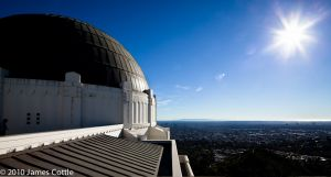 Griffith Obervatory with Sun